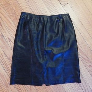 Croft & Barrow Black Lambskin Leather Skirt Sz 10